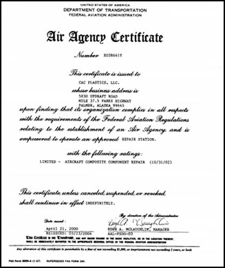 FAA Certified Aircraft Certificate Document Alaska