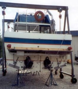 Back View of a Damaged Boat